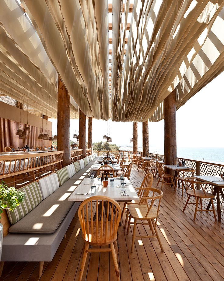 Using Almost Every Physical Form Of Wood Itself K Studio Creates A Humble And Kinetic Dining Experience Between Water Air Along Greek Beach