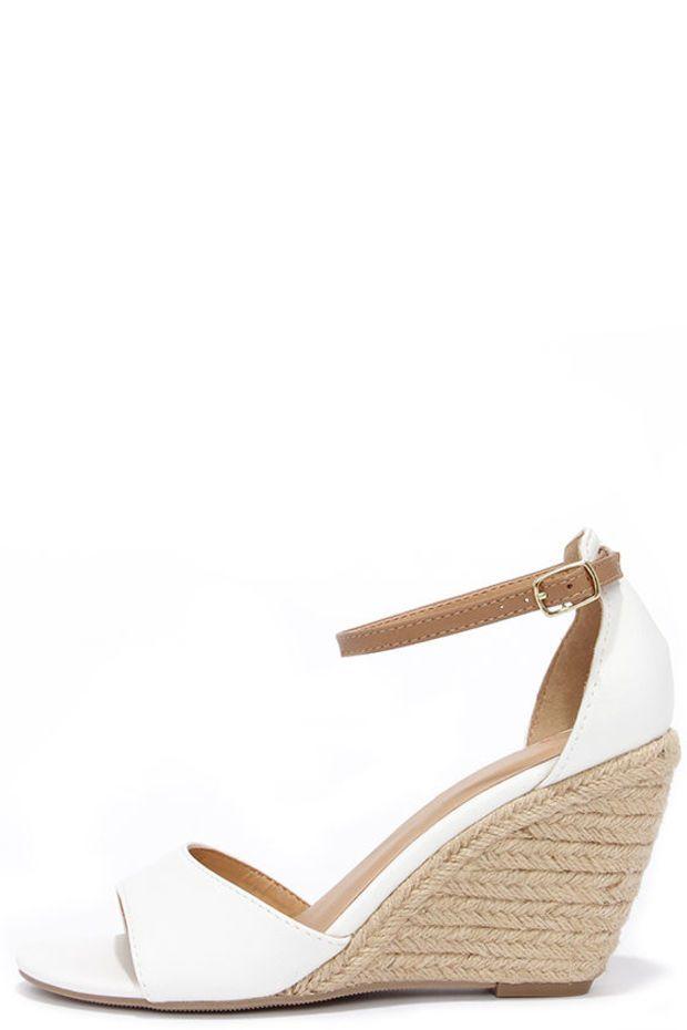 Charm School Ice White Espadrille Wedge Sandals