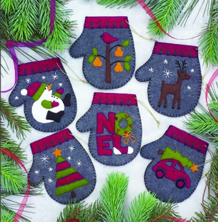 Christmas Felt Decorations Patterns: Wool Felt Ornaments For Christmas. Charcoal Mittens