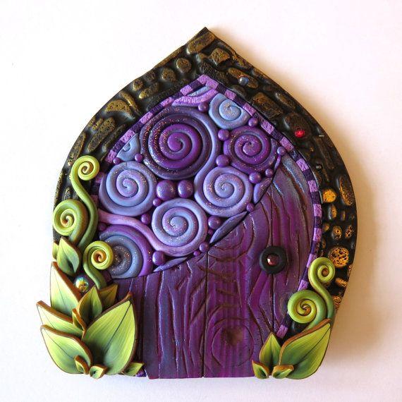 Purple Daydream Fairy Door, Miniature Pixie Portal, Home and Garden Decor, Polymer Clay Door, Tooth Fairy Door
