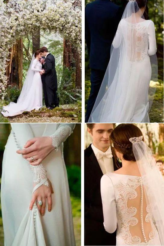 Vestido de noiva da Bella em Amanhecer Parte 01, da saga Crepúsculo. Modelo com detalhe nas costas e de manga comprida, justo ao corpo e com tecido leve.