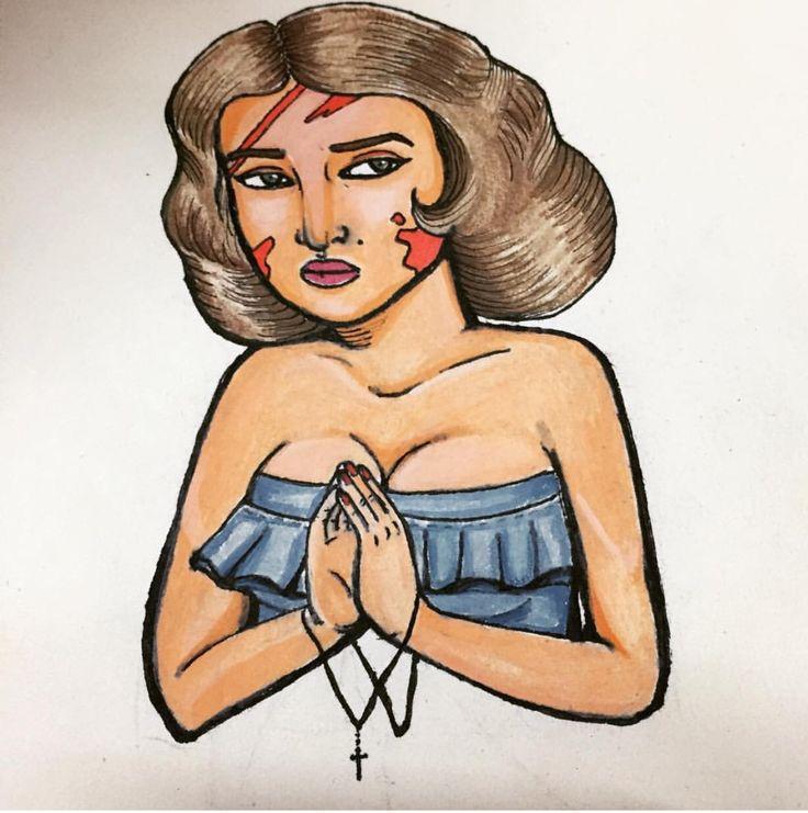 """Like a virgin"" Dibujo tradicional a acuarelas"
