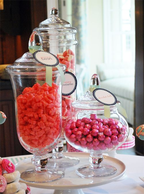 Baby shower food-girl: Candy Buffet, Desserts For Bridal Shower, Cakes Stands Display, Candy Bar, Cake Stand Display, Shower Food Girls, Candy Jars, Apothecaries Jars, Baby Shower