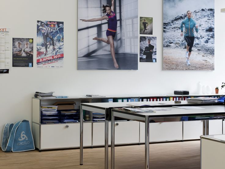 USM Haller credenza in pure white and table in pearl gray. www.usm.com