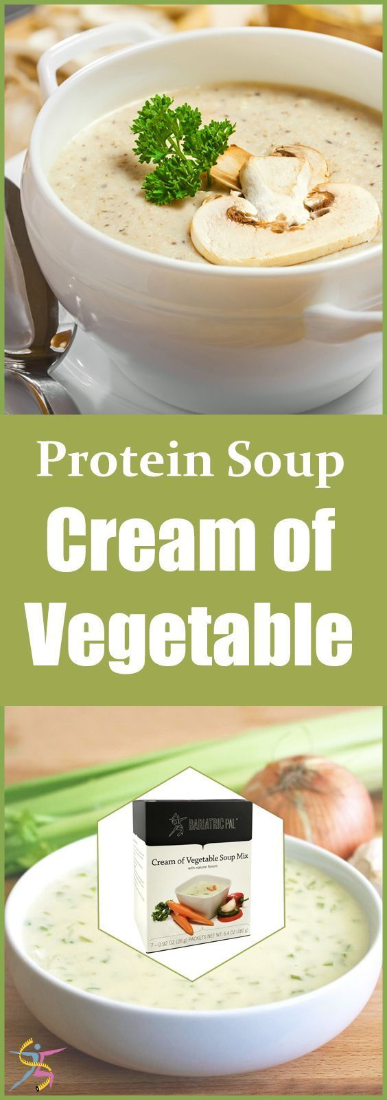 BariatricPal Protein Soup - Cream of Vegetable BariatricPal Protein Soup is your mealtime solution. Just add water and enjoy your instant high-protein soup. BariatricPal Protein Soup � Cream of Vegetable is a creamy comfort food without the extra fat and calories. Each bowl has only 90 calories and almost no fat! It has real vegetables like onions, bell peppers, leeks, and carrots, and 15 grams of protein. It can make you feel better pre-op and post-op while giving you the protein you need…