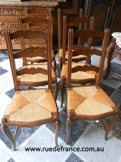 ANTIQUE FRENCH SET OF 6 DINING CHAIRS- PROVINCIAL STYLE