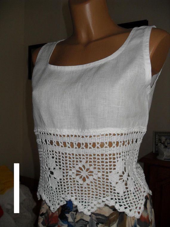 Tор lino con encaje tejido a mano crochet.size por Lalerosso