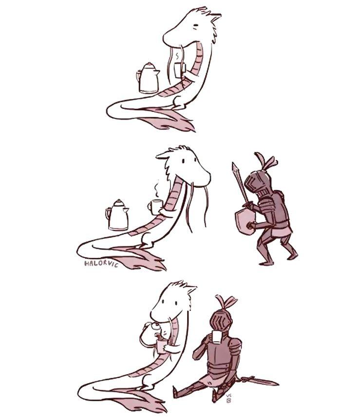 Make tea, not war ☕ Понедельник – день тяжелый! Хватит сражаться с работой, давайте чай пить!)  #кофе #чай #сказки #драконы #рыцари #комиксы