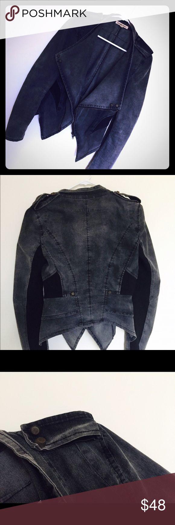Dark grey jacket Very comfortable denim jacket with zipper. It has size L on tag but runs small Double Zero Jackets & Coats Jean Jackets