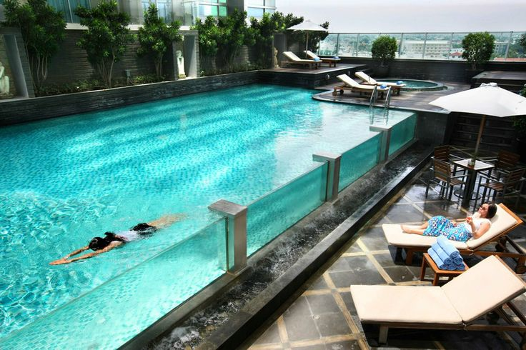 The glass pool of the Grand Swiss-BelHotel, Medan, Indonesia