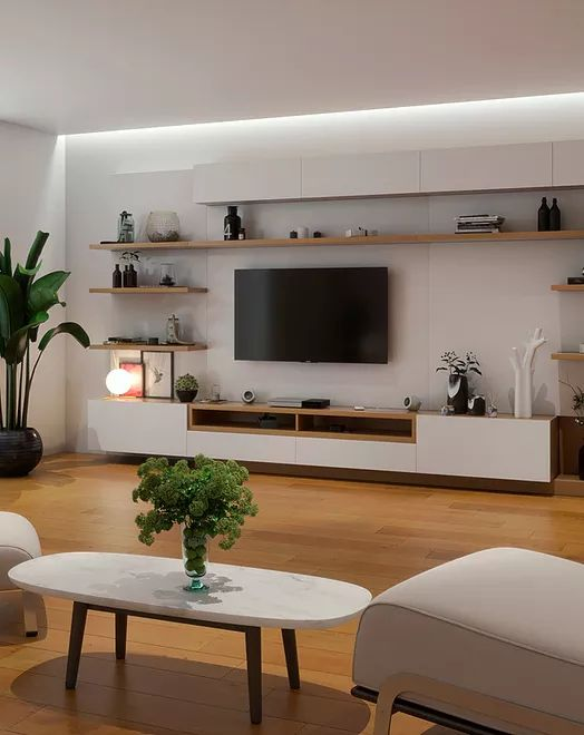 Living Room Wall Units, Living Room Tv Unit Designs, Living Room Interior, Home Living Room, Living Room Decor, Bedroom Tv Unit Design, Tv Wall Design, Living Room Shelves, Chic Living Room