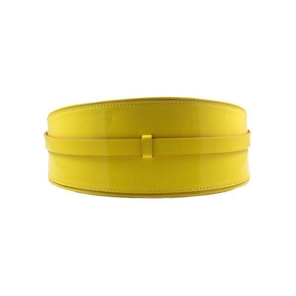 Wide Cut Yellow Belt ($22) ❤ liked on Polyvore featuring accessories, belts, reversible belt, wide belts, strap belt, polyurethane belt and slimming belt