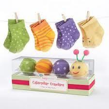 "Something Blue - Baby Aspen - Baby Shower Favor - ""Caterpillar Crawlers"" Baby Socks - 4 pairs, R164.00 (http://www.somethingblue.co.za/baby-aspen-baby-shower-favor-caterpillar-crawlers-baby-socks-4-pairs/)"