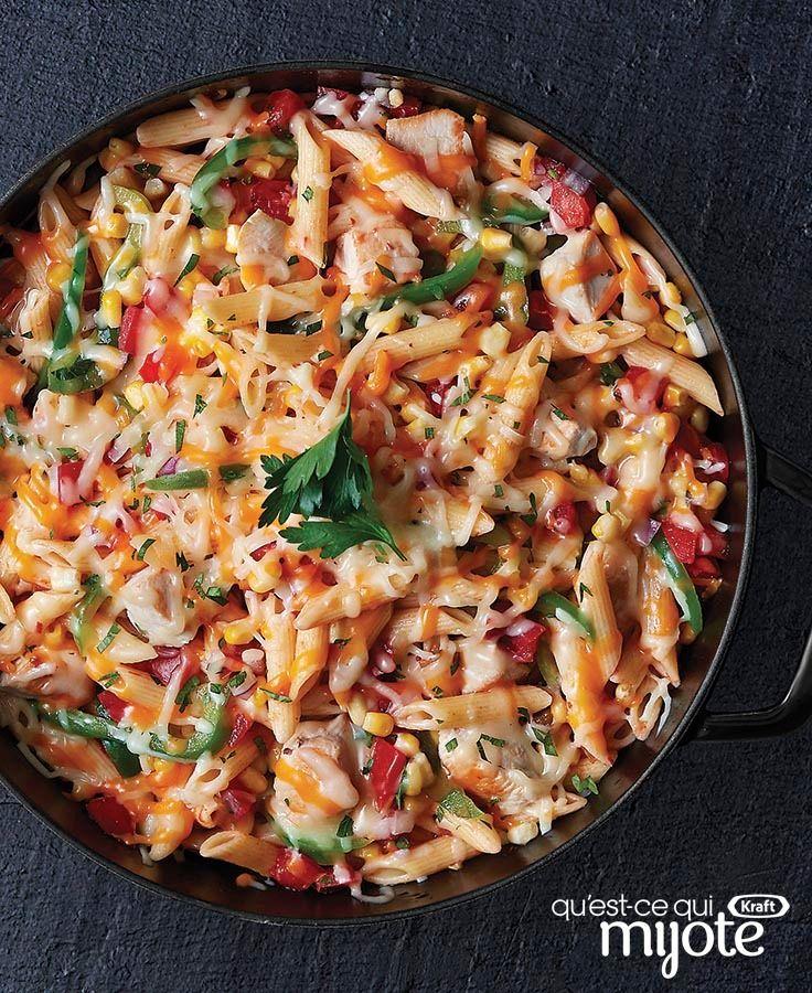 Pennes au poulet et au fromage tex-mex #recette
