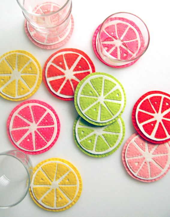 How to make citrus inspired felt coasters - so cute.