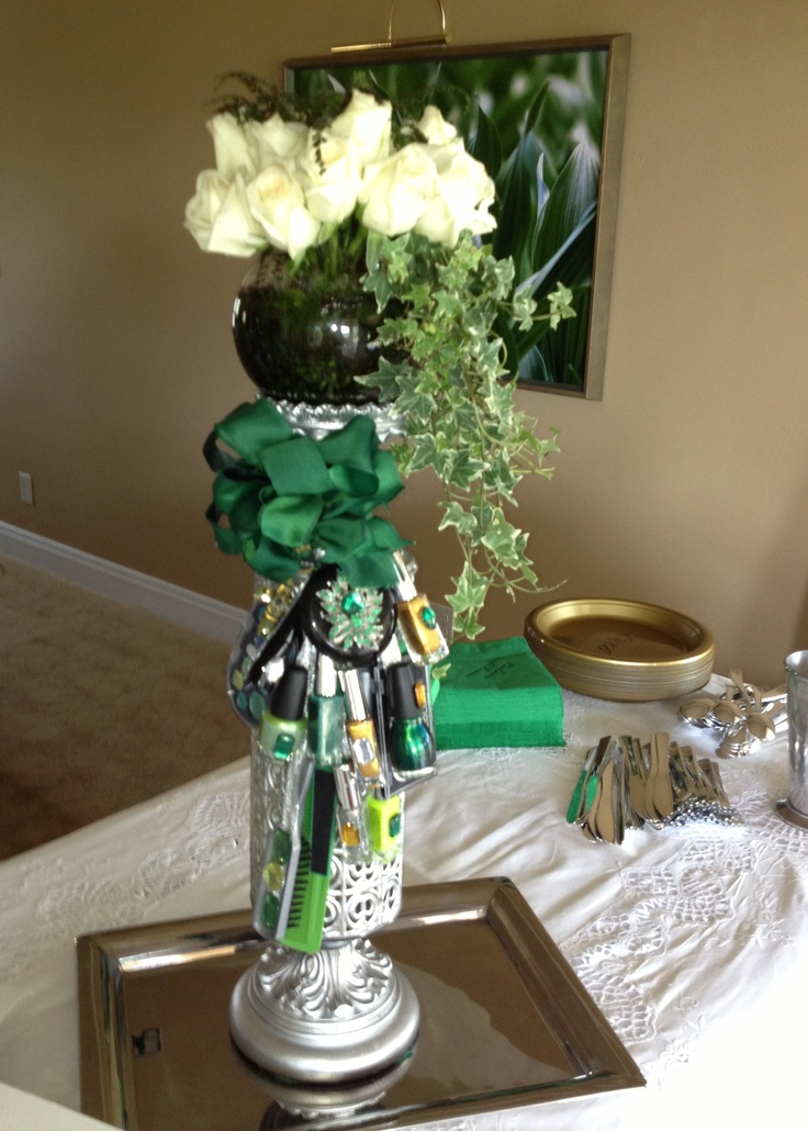 Centerpiece for Bridal Bridesmaids Makeup  Hair Party Colors emerald green silver gold