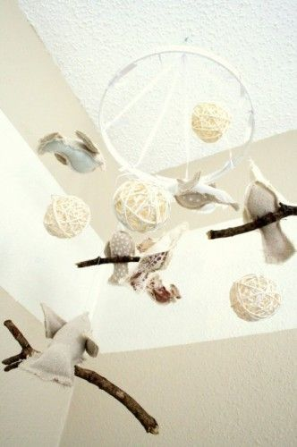 Bird mobile for a baby's room