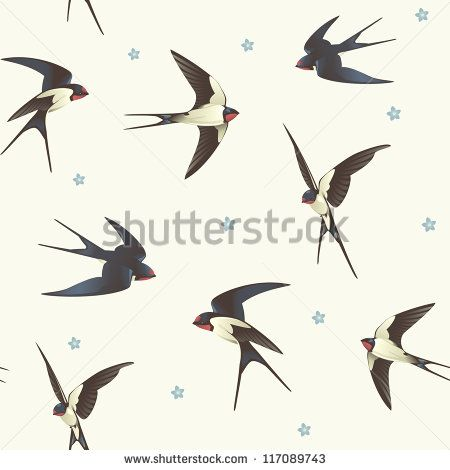Seamless background with swallows. Pattern with a flock of birds - stock vector