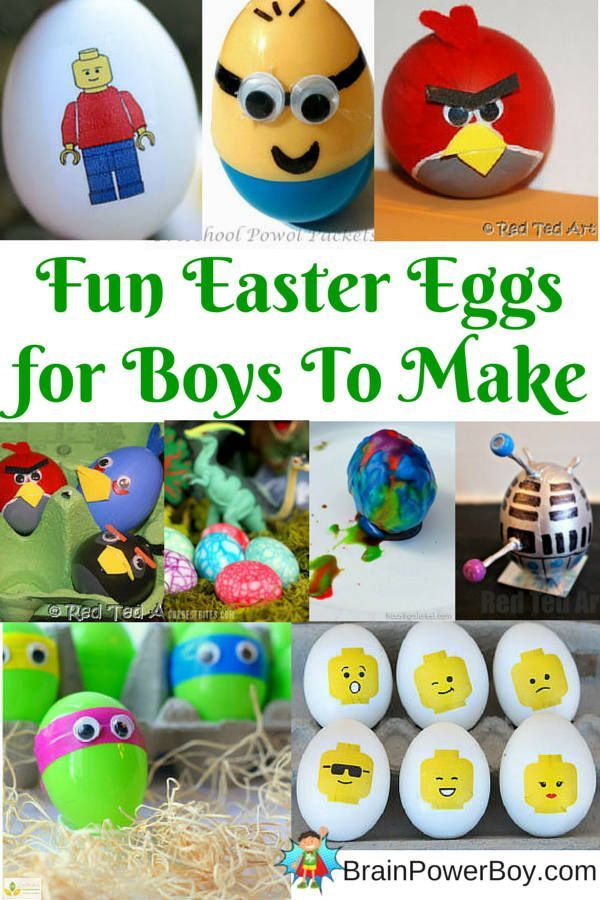Get boys crafting and decorating Easter eggs with LEGO, Star Wars, Dr. Who, Volcano, dinosaur, TMNT, Super Mario Bros. eggs and more.