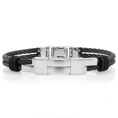 Carson's Stainless Steel Cord Bracelet - Black - Final Sale Emitations. $42.40