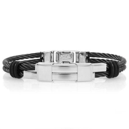 Carson's Stainless Steel Cord Bracelet - Black - Final Sale Emitations. $42.40