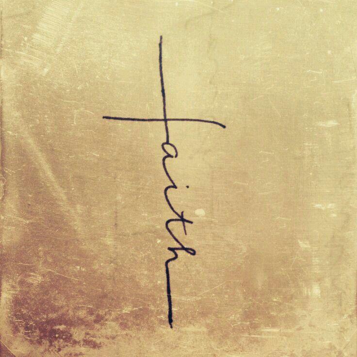 "Tattoo of the word ""faith"" on shape of a cross. Your faith is bigger than your fears."