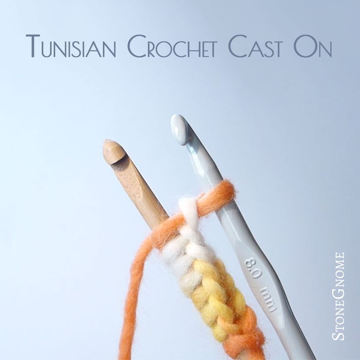 Chainless start for Tunisian Crochet. Cast on Technique using two hooks. Faster than chains.