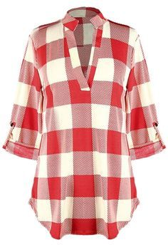 Up to 10% off for pre-order! Plaid classics to have with $22.99+free shipping&easy return! This half sleeve V-neck top gonna make you shine this fall. Take it from Cupshe.com