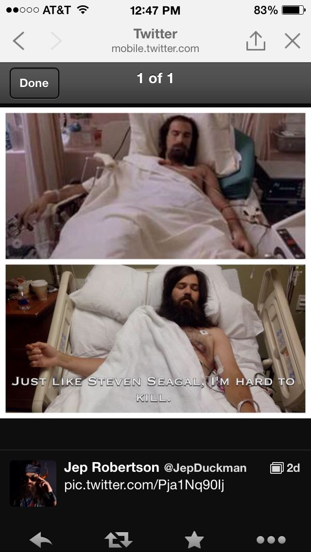 Jep Robertson in hospital comparing himself to Stephen Segal. Hard to Kill.