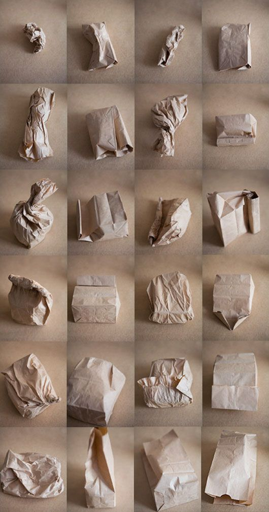 paper bags -multiple views of an object, exploring form, manipulation