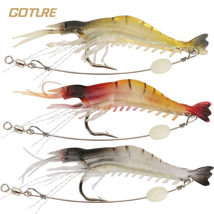 Goture 5pcs/lot Silicone Soft Bait 8.5cm 6g Luminous Shrimp Fishing Lure Artificial Baits Carp Fishing Tackle