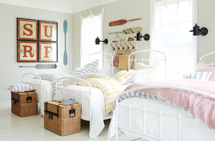Outfit a Summer Bunk Room for Storage and Style/ Ballard Design's blog How to Decorate. LINEN bedding