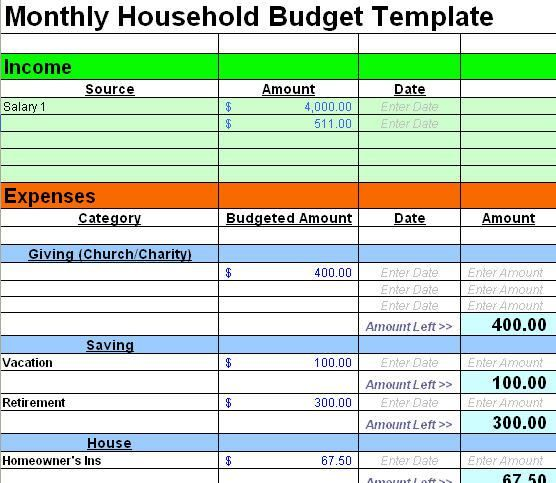 household accounting spreadsheet
