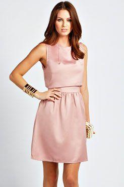 Roxy Layered Satin Prom Skater Dress at boohoo.com