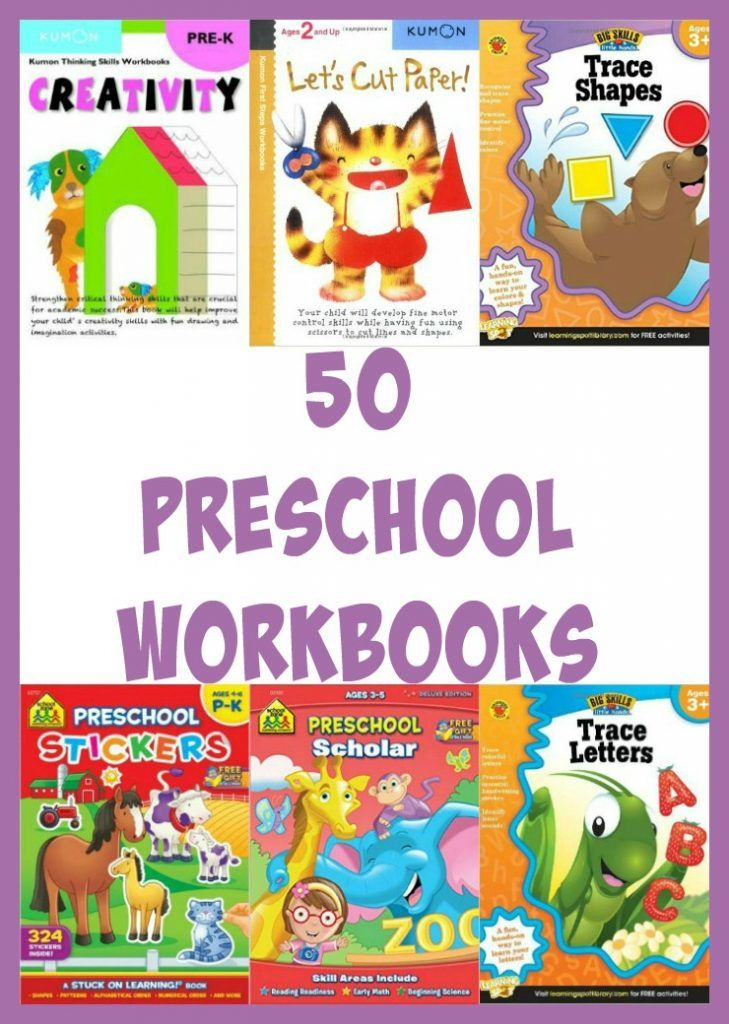When teaching preschool it is important to include some hands on work. Here is a list of 50 workbooks that will help teach your preschooler what they need to learn all while having fun!