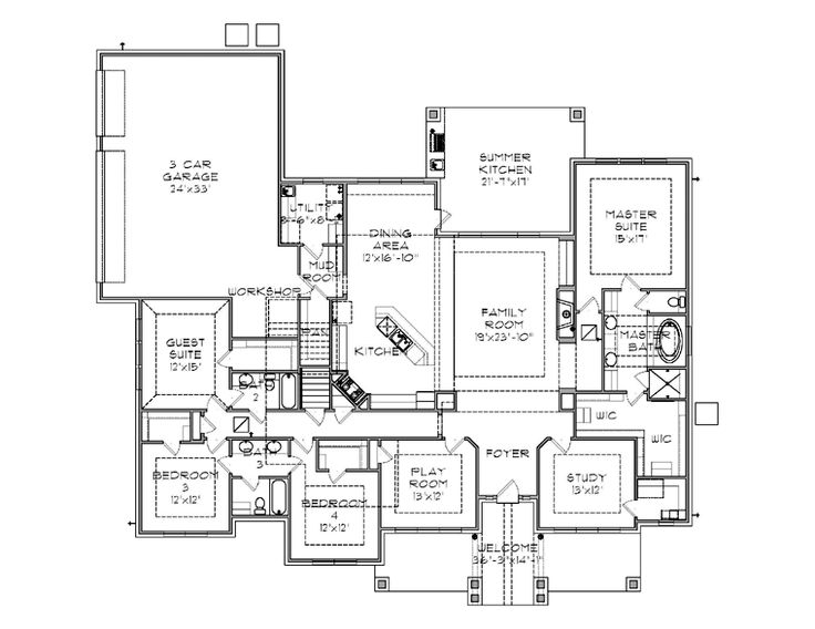 First Floor Plan Of Craftsman House 77864