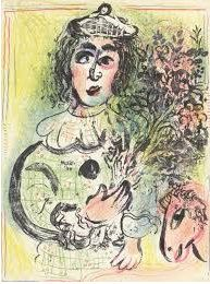 "Marc Chagall Original Lithograph ""Clown with Flowers"" Mourlot No. XXX, 1963"
