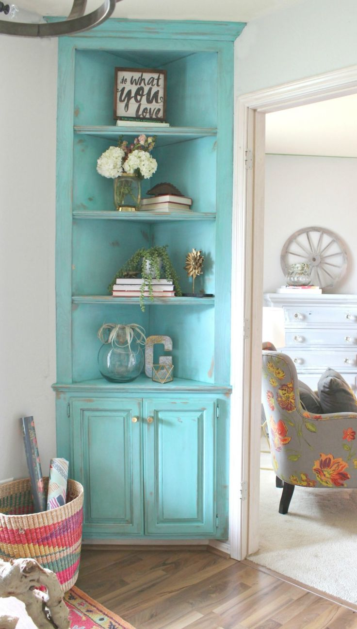 Antique kitchen corner cabinets - Turquoise Painted Corner Built In It S She Den Makeover Reveal Day Refunk