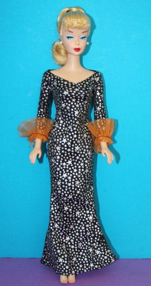Mattel Barbie HALLOWEEN ENCHANTRESS Black Silver stars GOWN NO DOLL #Mattel