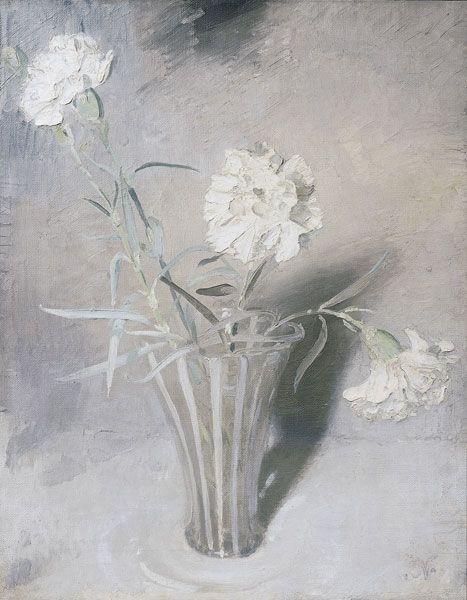 william nicholson - white carnations (1927)