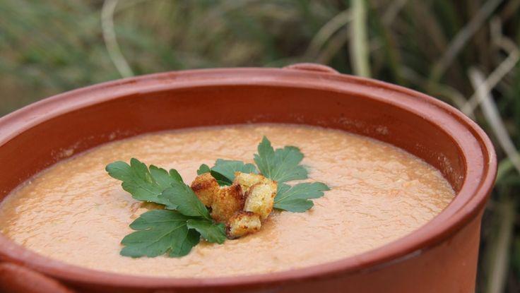 Gazpacho - Suppen kan serveres med finhakket tomat, løk, agurk, egg, skinke, paprika eller bare med sprø brødkrutonger. - Foto: Fra TV-serie...