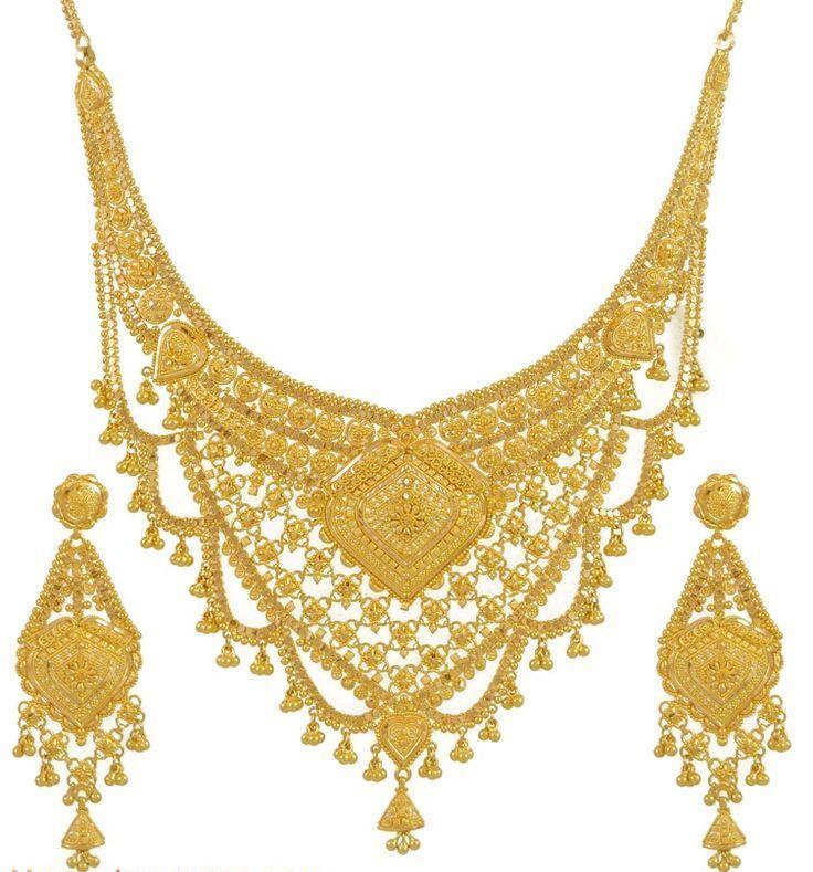 Chandelier Bridal Gold Necklace Set