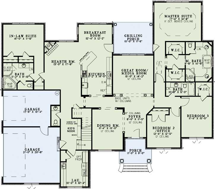 Luxury style plan master suite in law suite big for Master bedroom above garage floor plans