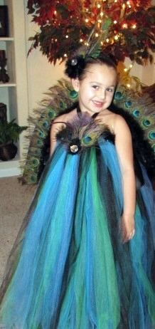 "Southern belles know a thing or two about dressing their baby girls up to be ""pretty as a peacock"".  This DIY Halloween costume is gorgous!"