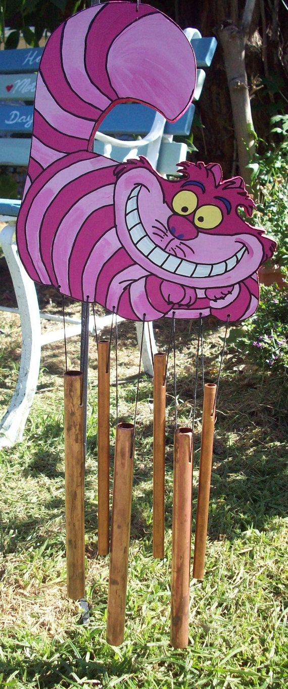 Cheshire Cat Wind Chime: Blowin, Wood Copper, Copper Hemp, Cheshire Cat, Chimes Wood, Beautiful Wind, Hemp Recycled, Windchimes, Cat Wind