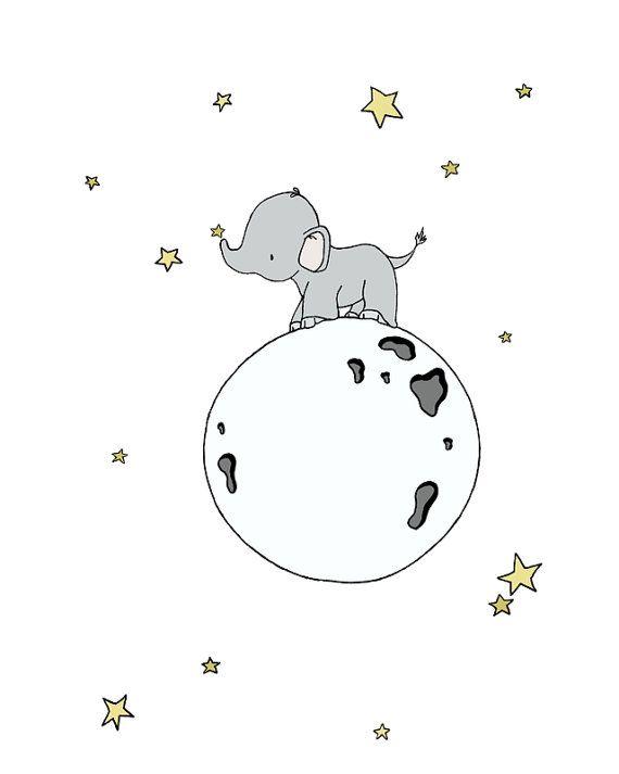 Elephant Nursery Art — Elephants Moon Art — Set Of 3 Prints — Neutral Nursery Decor — Children Art — Kids Wall Art — White