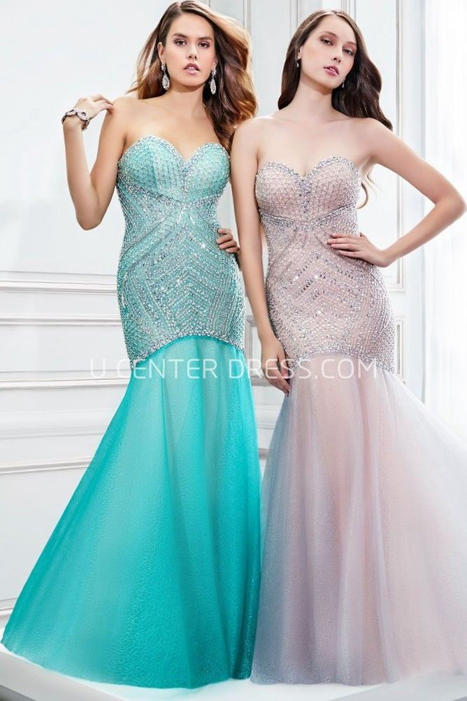 $128.59-Sexy Mermaid Sleeveless Sweetheart Beaded Tulle Trumpet Evening Gown. http://www.ucenterdress.com/mermaid-sleeveless-sweetheart-beaded-tulle-prom-dress-pMK_300334.html.  Shop for affordable evening gowns, prom dresses, white dresses, party dresses for women, little black dresses, long dresses, casual dresses, designer dresses, occasion dresses, formal gowns, cocktail dresses . We have great 2016 Evening Gowns on sale now. #evening #gowns