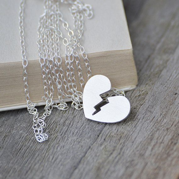 My broken heart necklace in sterling silver with personalized message