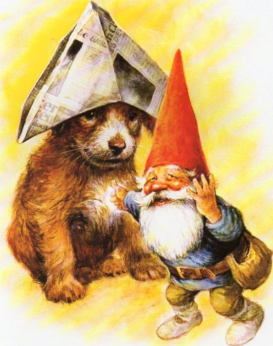 Gnomes believe newspapers cannot be thrown away. You may find them behind thermometers, inside of brooms, inside a blanket, in a horse's tail, inside a new table leg, or even in a bowling ball. On occasion, they make a hat for a dog on a rainy day.