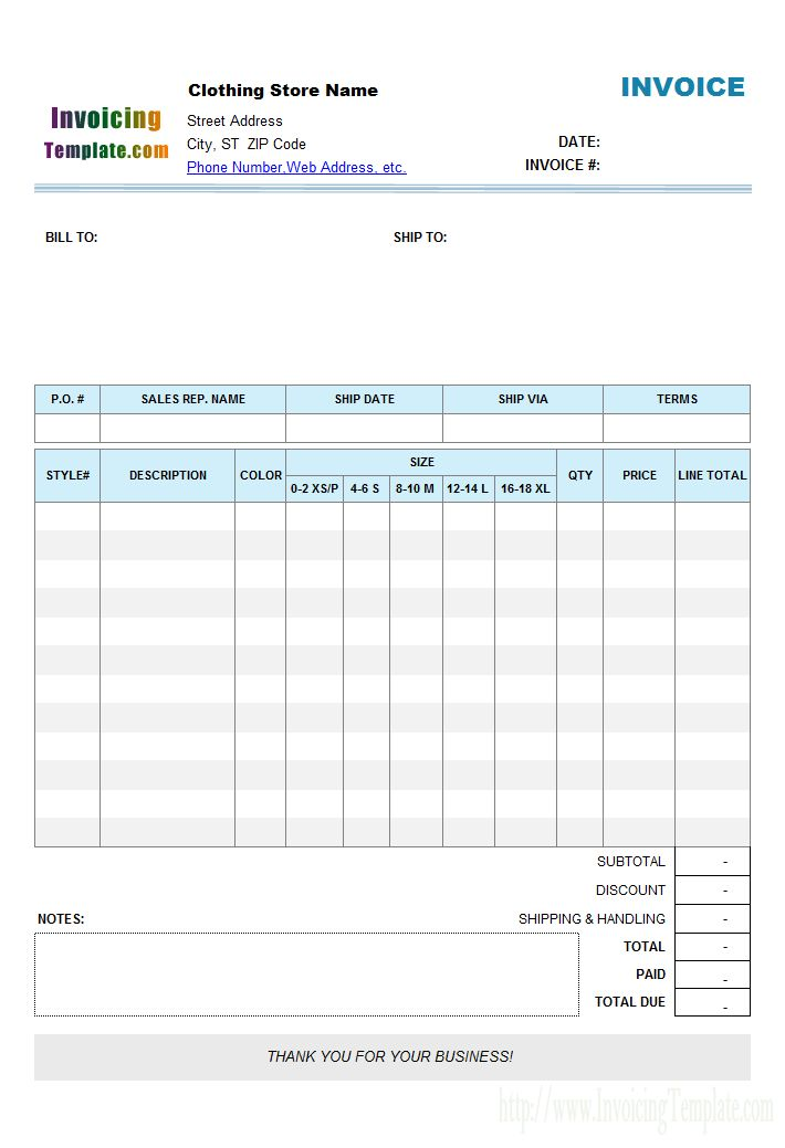 Clothing Store (Manufacturer) Invoice Template with Item Pickup Buttons